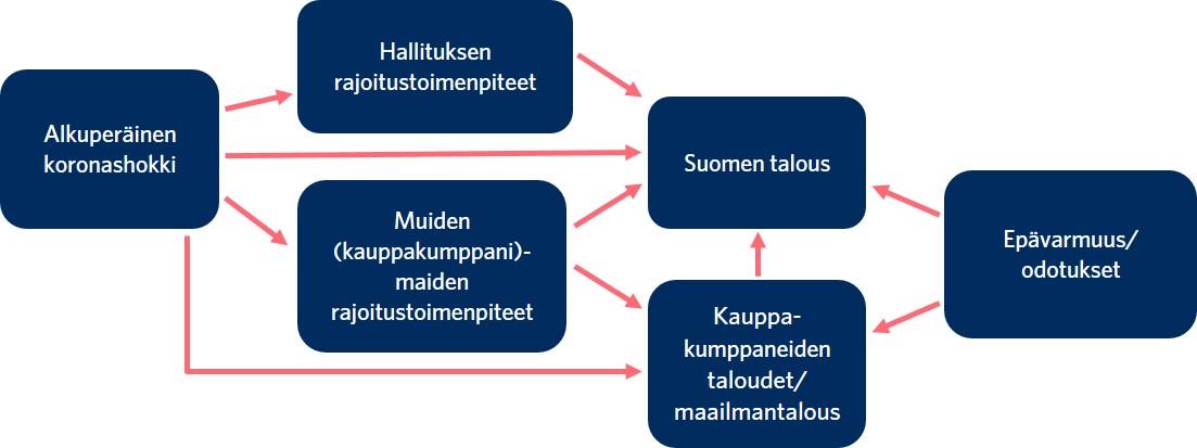 Alkuperäinen koronashokki vaikuttaa Suomen talouteenpaitsisuoraanmyösseuraavien asioiden kautta: hallituksen rajoitustoimenpiteet, muiden maiden rajoitustoimenpiteet, kauppakumppaneiden taloudet ja maailmantalous.Suomen ja muunmaailman talouteen vaikuttavatmyösepävarmuus ja odotukset.