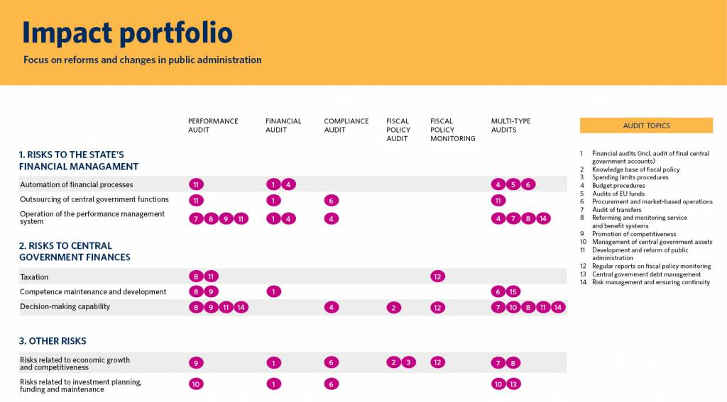 The impact portfolio indicates how audit topics are targeted to the main risk areas of the different audit types and whether the audit focus is on verification or development. More detailed information about the content of the impact portfolio is available in the Excel file Impact portfolio 2020 (updated on 12 June 2020) below the figure.