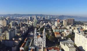 Aerial view of the city of Porto Alegre in Brazil.